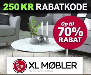 XL-mobler 250 kr rabatkode